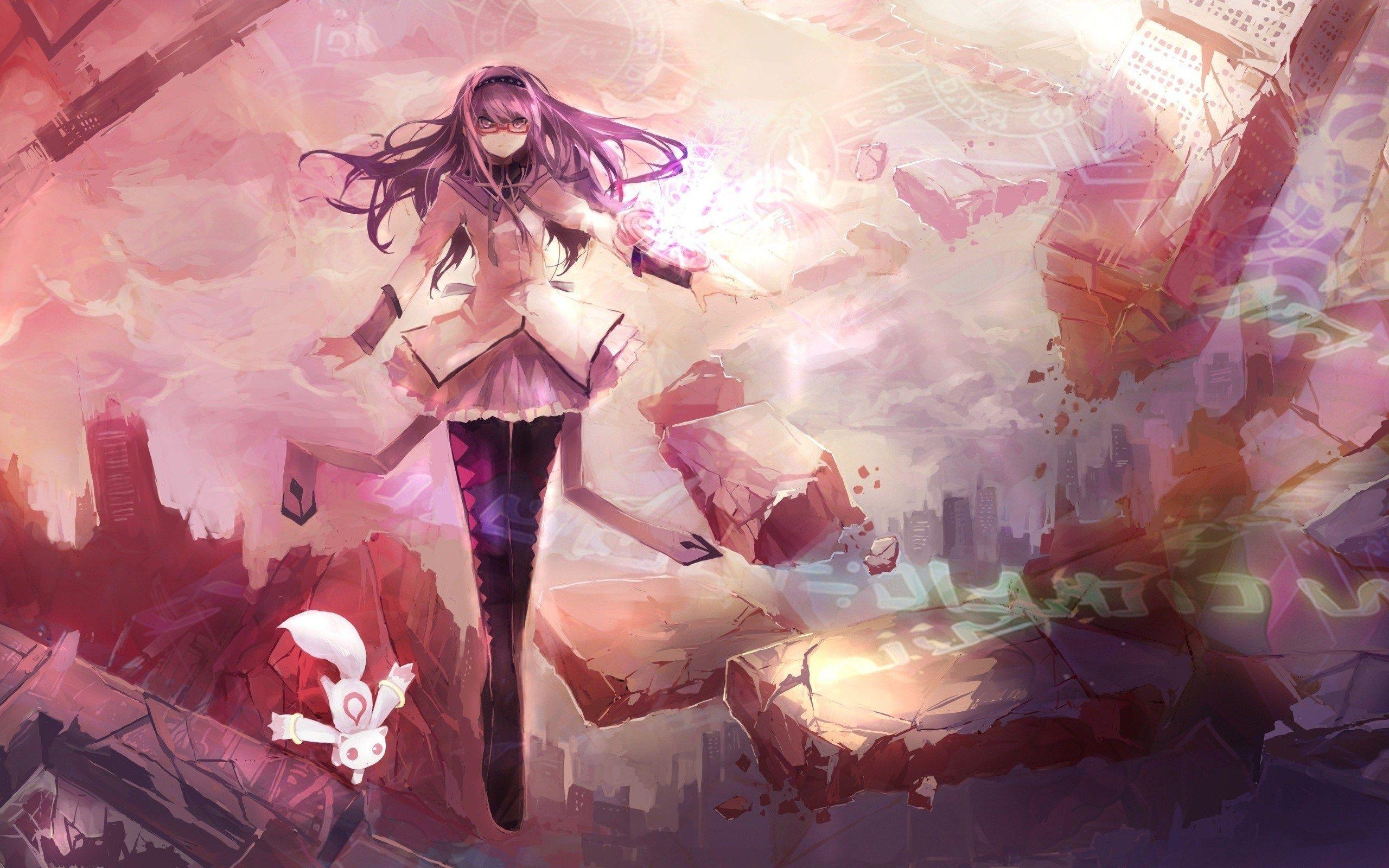 Magica Mobili ~ Kagaya moon anime girl cat sunset nature wallpaper for mobile