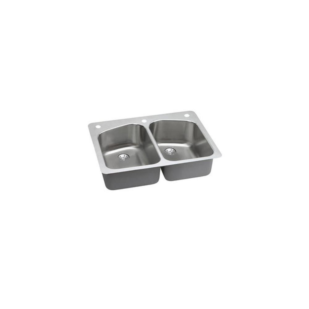 Gourmet 33 Double Basin Stainless Steel Silver Kitchen Sink For