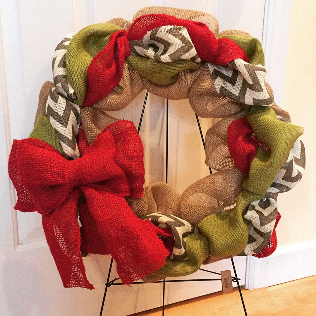 Chevron Christmas Wreath $50   https://www.facebook.com/WreathsbyKasy/