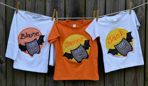 Personalized Halloween Bat Patch Applique Shirt or Onesie for Boy or Girl on Etsy, $25.00