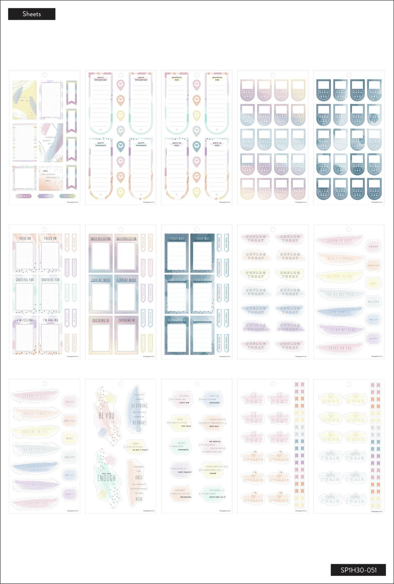 Wellness The Happy Planner Value Pack Stickers
