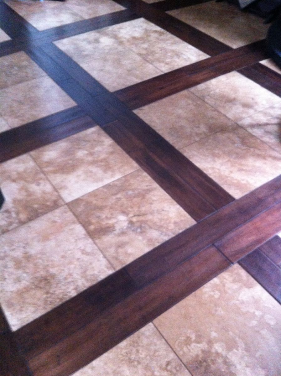 travertine and wood | This floor is travertine tile with a ...