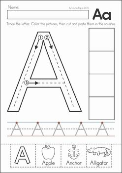 preschool kindergarten back to school no prep worksheets and activities a page from the unit letter tracing with cut and paste