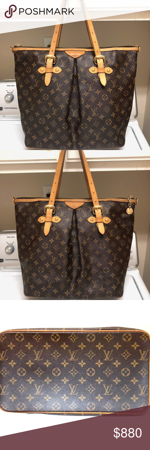 7d02dabfe9 LOUIS VUITTON WOMEN MONOGRAM PALERMO GM SATCHEL Brown and tan monogram  coated canvas Louis Vuitton Palermo
