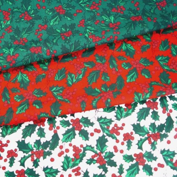 Polycotton Fabric Christmas Festive Seasonal Holly Berry Leaves And Berries