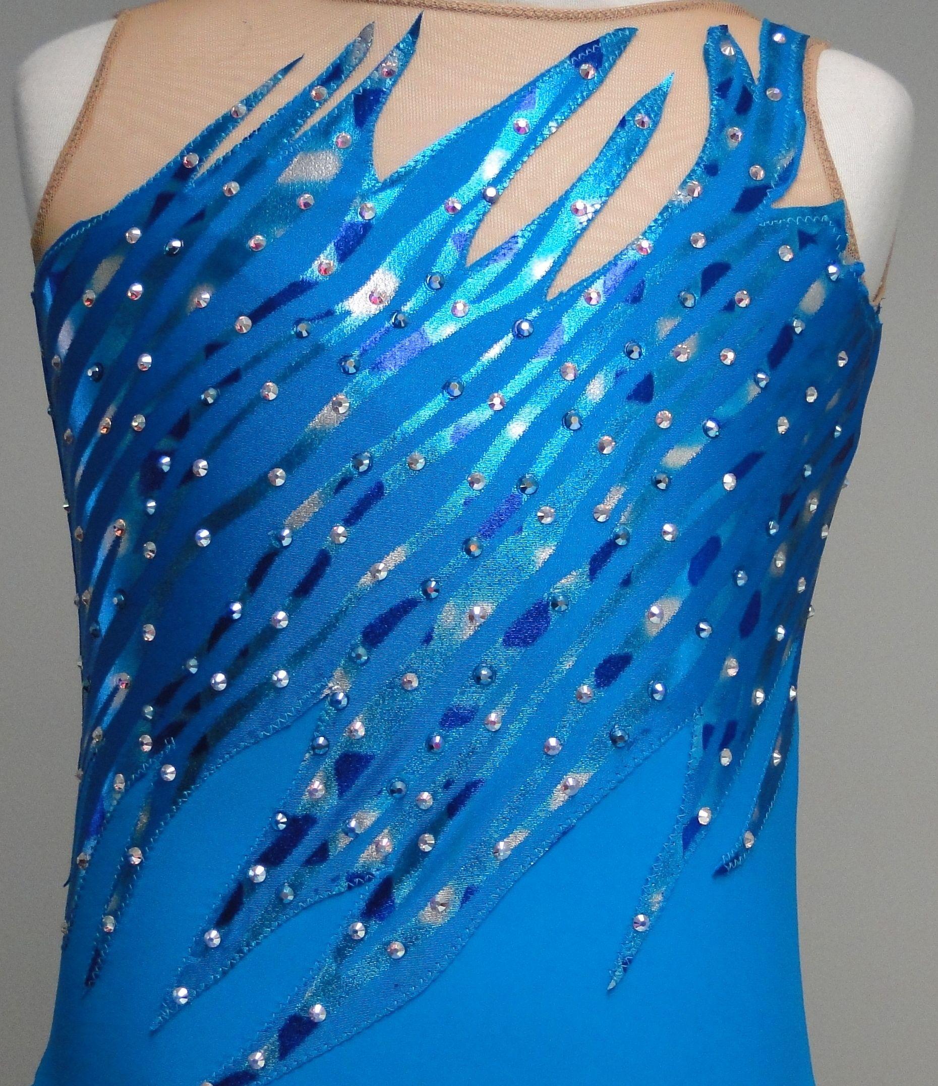 Sk8 Gr8 Design Custom Figure Skating Dress Turquoise