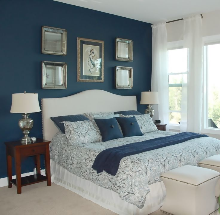bedroom design blue. Room Image result for dove grey feature wall and navy bedding