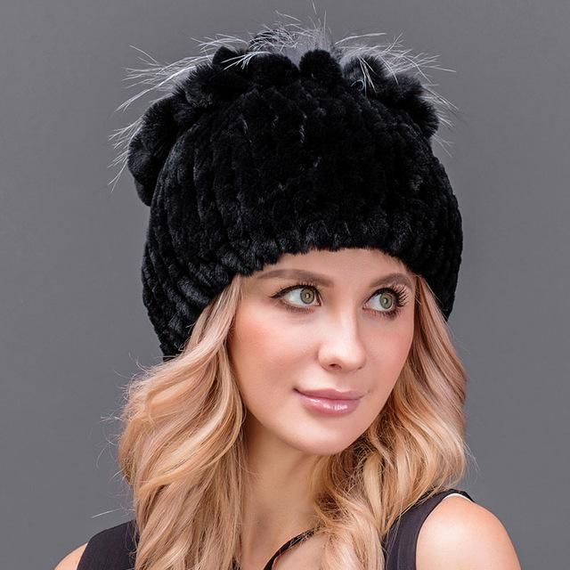 c6c1aa33 Fur Hat for Women 100% Real Rex Rabbit Princess Cap with Luxury Fox Fur  Thick