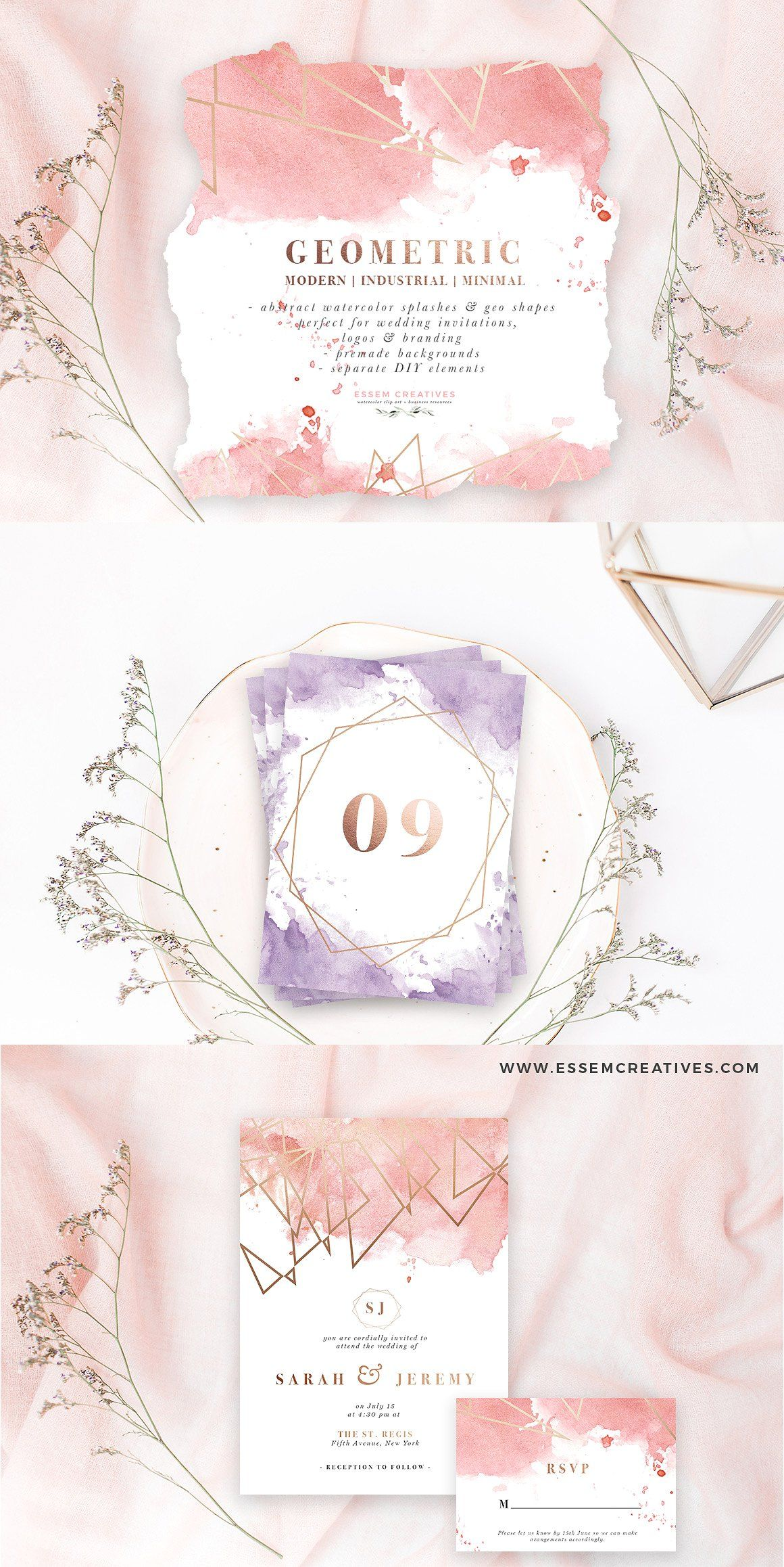 Rose Gold Geometric Watercolor Wedding Invitation Background