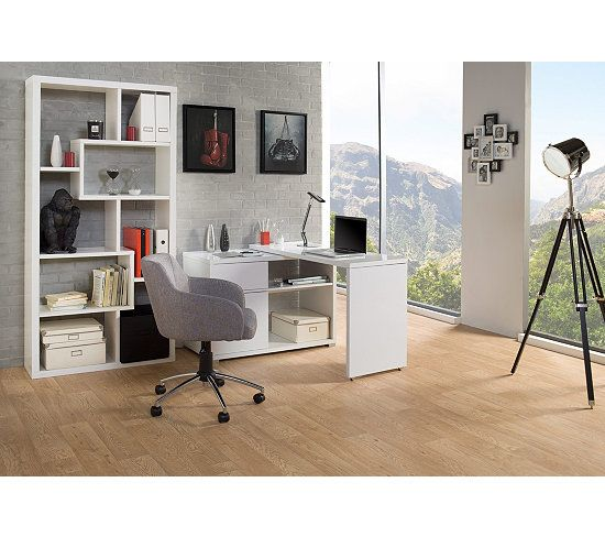 bureaux bureau d 39 angle space blanc brillant bricolage. Black Bedroom Furniture Sets. Home Design Ideas