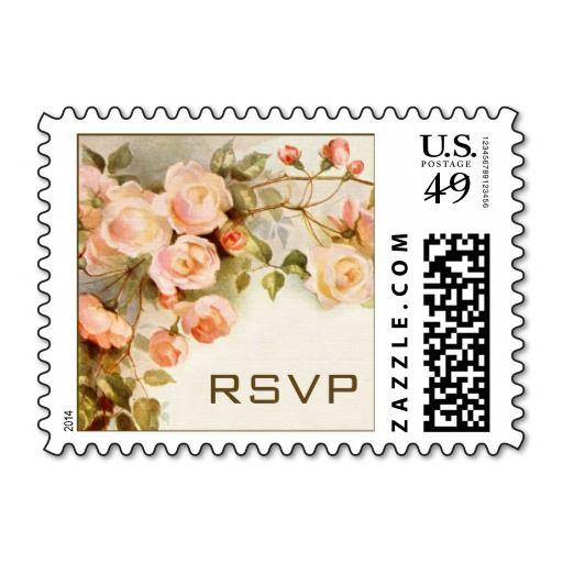 Vintage Wedding Rsvp Pink Rose Flowers Fl Postage Stamps
