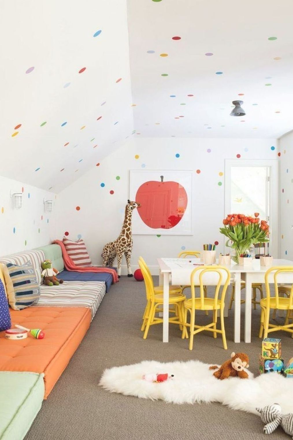 Awesome Playroom Design Ideas For Kids 39 Our latest project - a cool gender neutral space with LOTS of vintage finds! #kidsbedroom #kidsdecor #pictureledge #vintagekidsrooms #greenkidsroom #vintagekidsroom #farrowandballgreen #uoeu #alphabetbedding #genderneutralroom #boysbedroom #kidsroomideas #kurabed #ikeahack Photo Credits: Anna Stathaki
