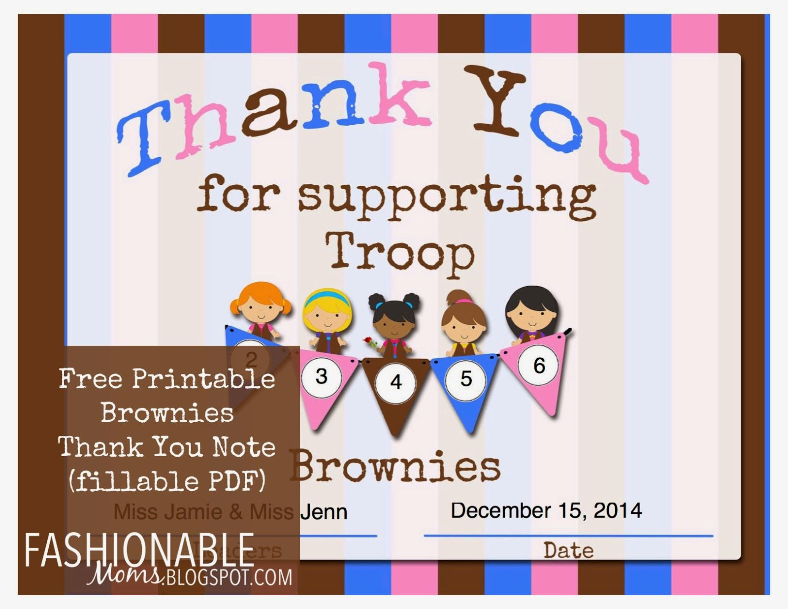 Fashionable Moms Free Printable Brownies Thank You Certificate
