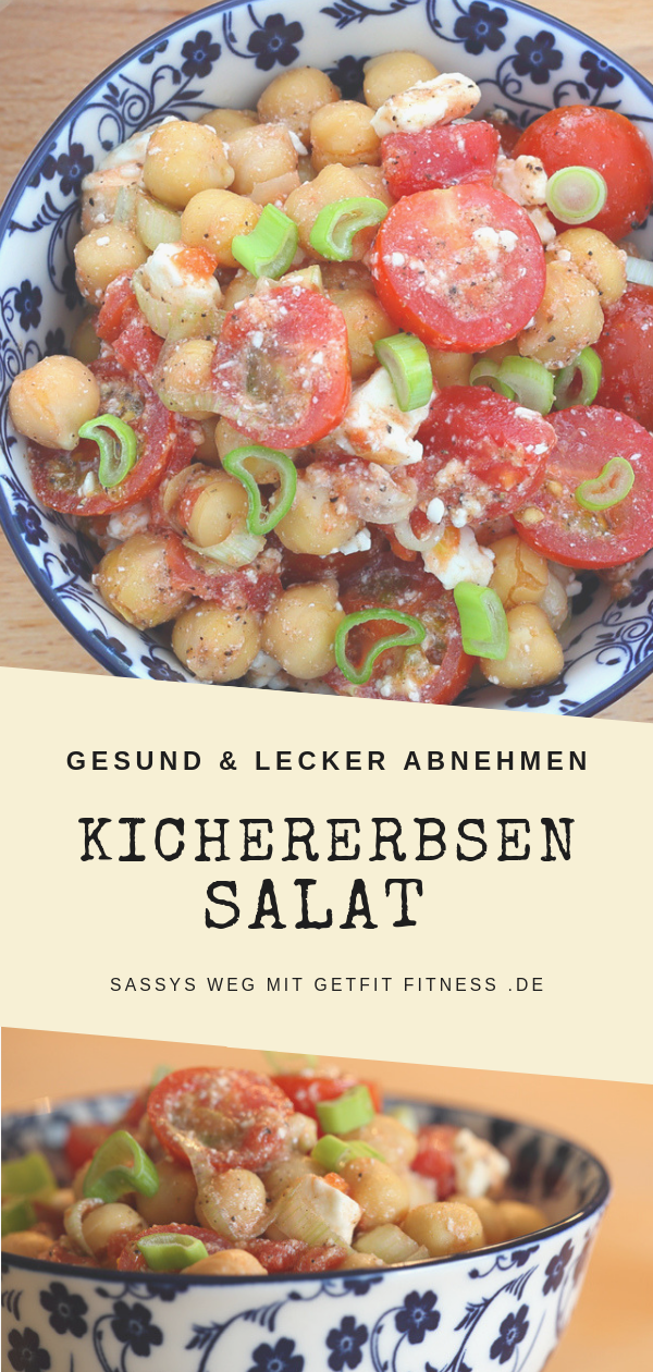 Kichererbsensalat mit Tomaten und Feta   Sassys Weg mit GetFit Fitness #abendessen #abnehmen #fitnes...