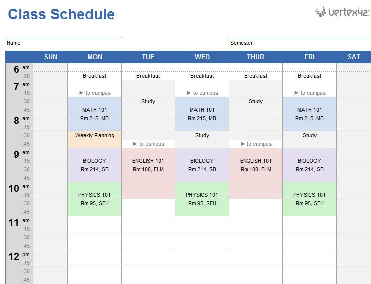 Download A Free Weekly Class Schedule Template For Excel Customize And Print A Simple Class Sche Class Schedule Template Class Schedule College Class Schedule
