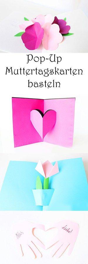 Muttertagskarten Basteln.Basteln Mit Papier 4 Schone Pop Up Karten Zum Muttertag
