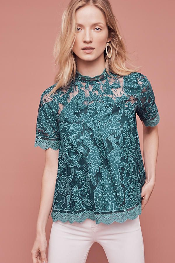 29a3302158a93c Anthropologie Lace Meadow Blouse by HD in Paris - Sz 6, 8 (Dark Turquoise)  #HDinParis #Blouse