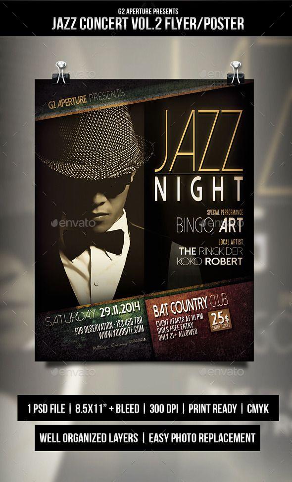 Jazz Concert Flyer  Poster Vol  Jazz Concert Concert Flyer
