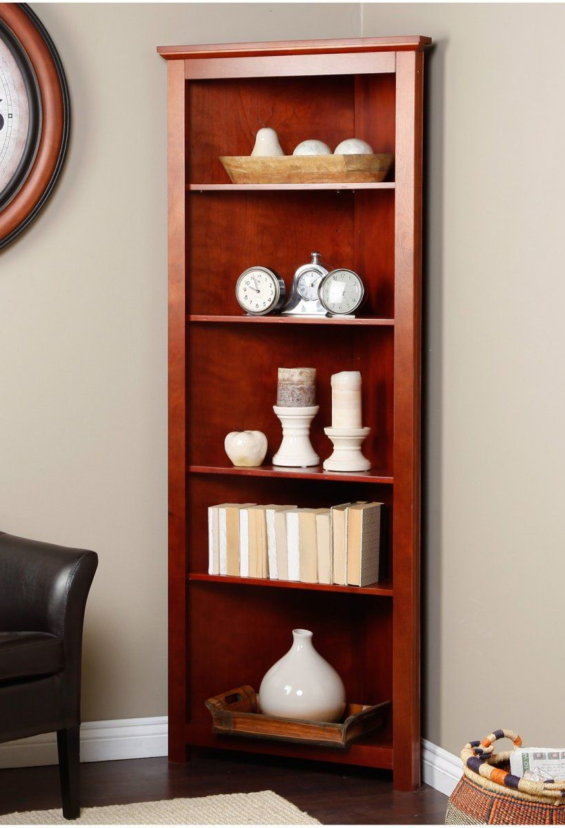Corner Book Shelves Corner Bookcase Redford Cherry Corner Bookcase At Bookcasesgalore