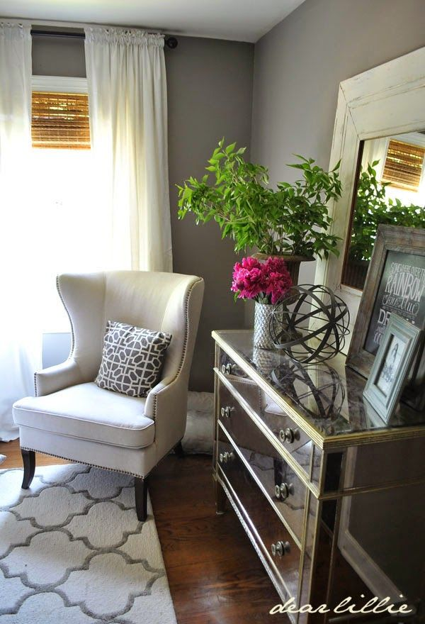 Mirrored Dresser For Recessed Wall Across From Bed Upholstered Accent Chair Next To The Dresser Styled With Large Vase Tray And Home Decor Home Home N Decor