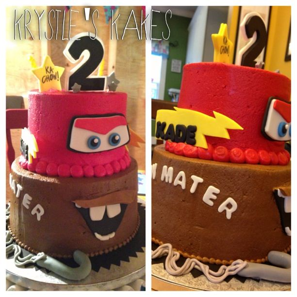 Cars, Lightning McQueen & Mater birthday cake for 2 year old.