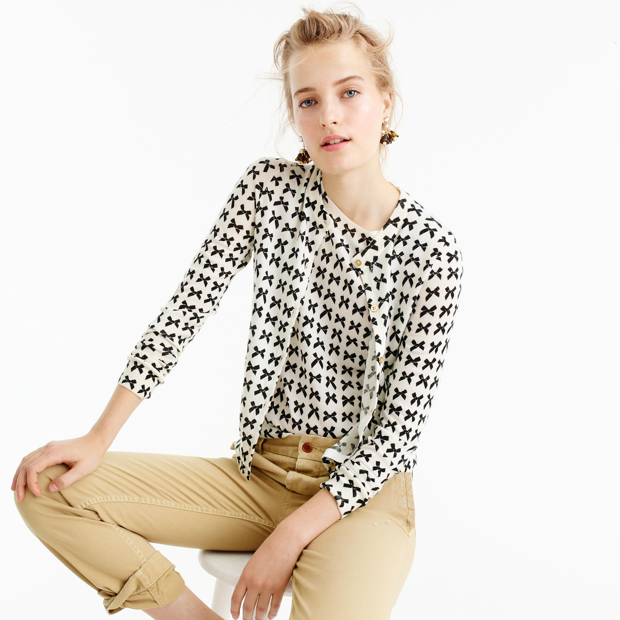 J. Crew Lightweight wool Jackie cardigan sweater in bow print ... 3ce9c6552