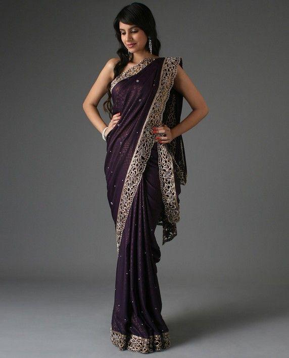 8760d4470e1 Deep purple sari, with an intricate trellis-work border. A perfect ...