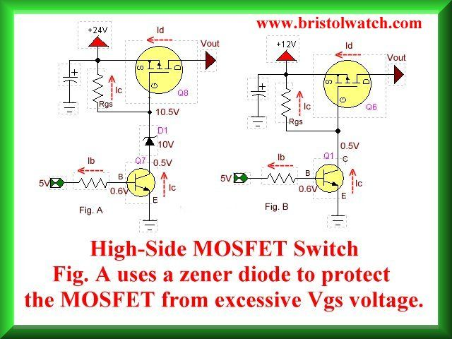 How To Design Use Basic P Channel MOSFET Switch. Includes Connections And  Schematics.  Basic P&l