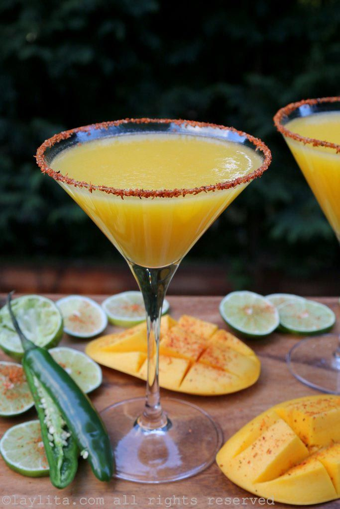 Spicy Mango Margaritas Laylita S Recipes Mango Margarita Spicy Margarita Mango Vodka