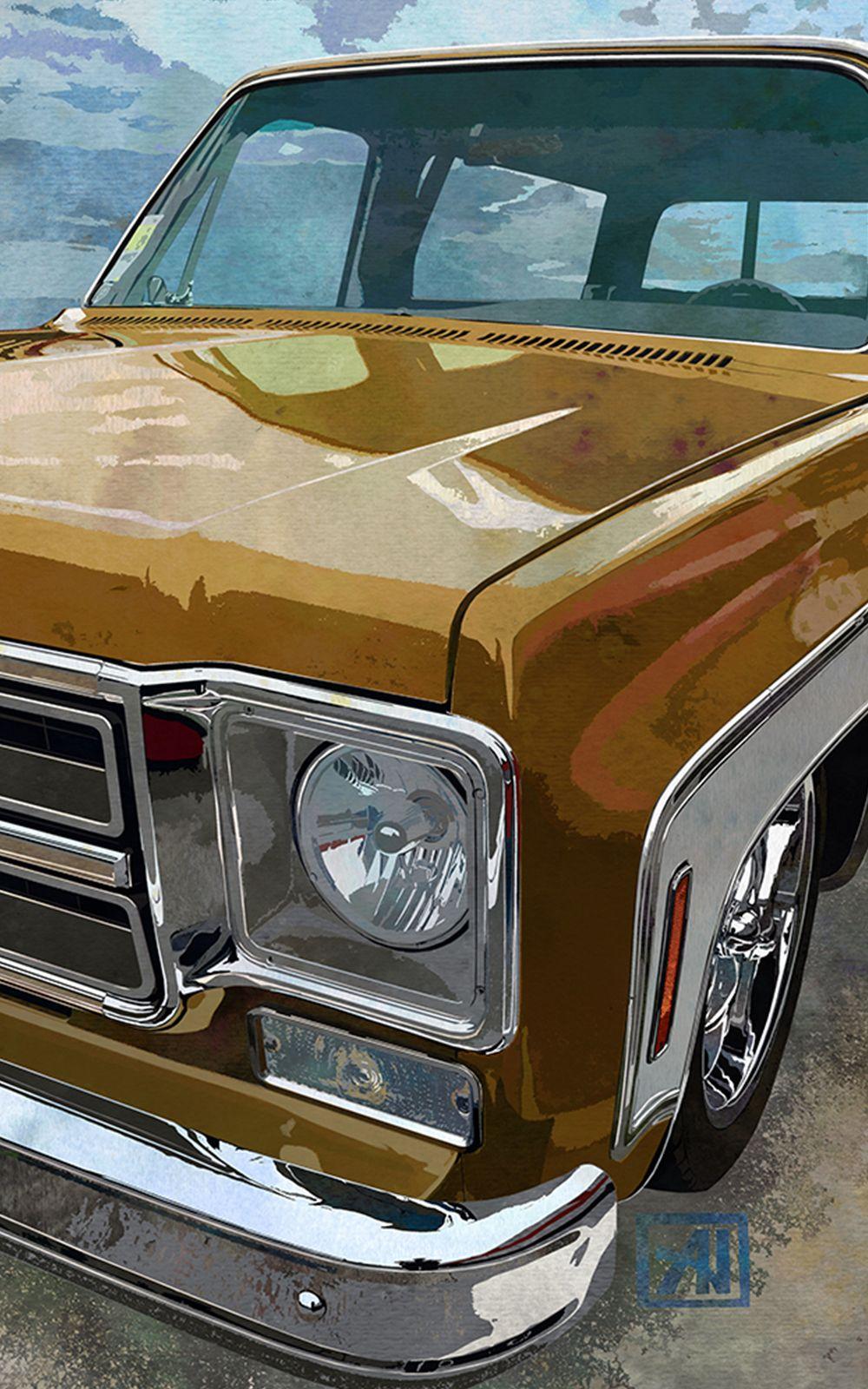 1976 Classic Gmc Jimmy Suv Art Print Retro Truck Art Jimmy Sierra Classic Bronze Yellow And White In 2020 Classic Gmc Truck Art Suv