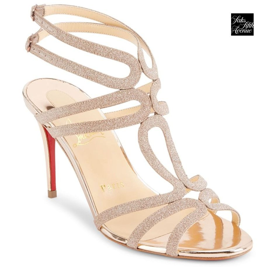 Bridal Shoes Saks: In A Dazzling Glitter Finish, These Strappy Sandals Exudes