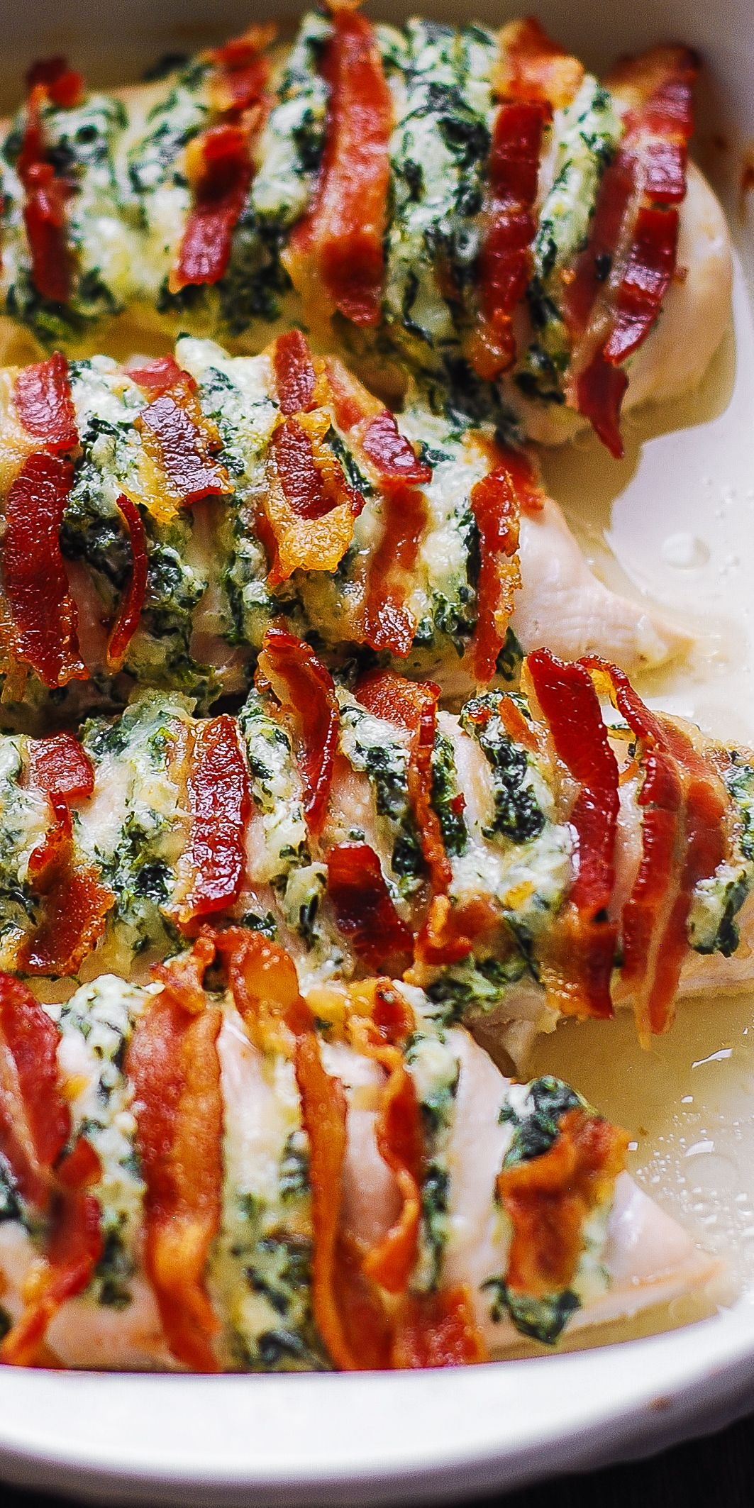 Hasselback Chicken with Spinach Dip, Bacon