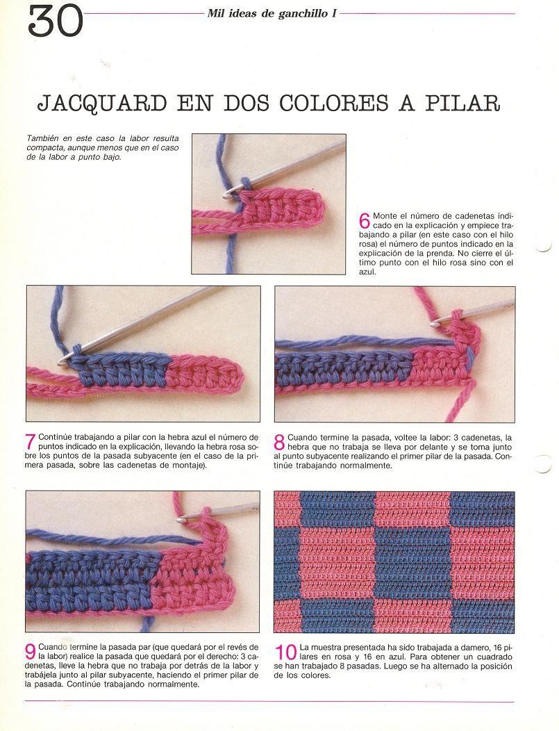 Tejido Facil: Paso a paso: Como hacer jacquard en el tejido crochet ...