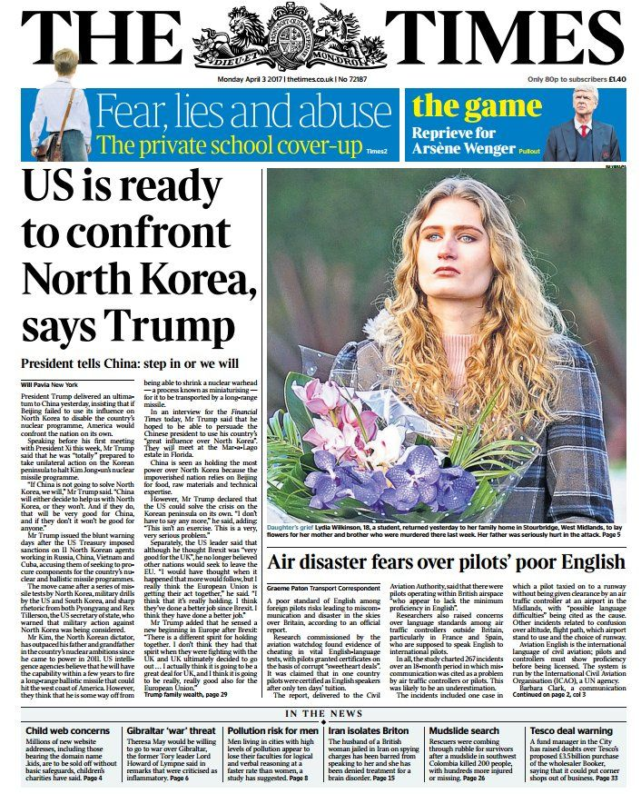 'THE TIMES: 'US is ready to confront North Korea says Trump' #skypapers' https://t.co/JFTeAGC39m   Sky News (SkyNews) April 2 2017  #me