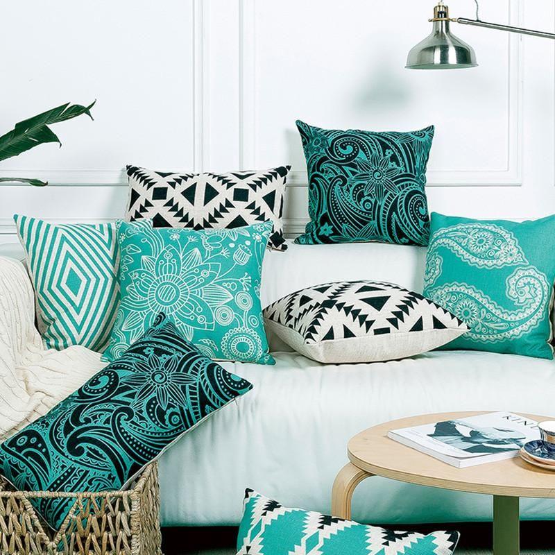Geometric Henna Floral Aqua Turquoise Black Linen Pillow Cushion Cover Linen Pillow Covers Wholesale Linens Linen Pillows