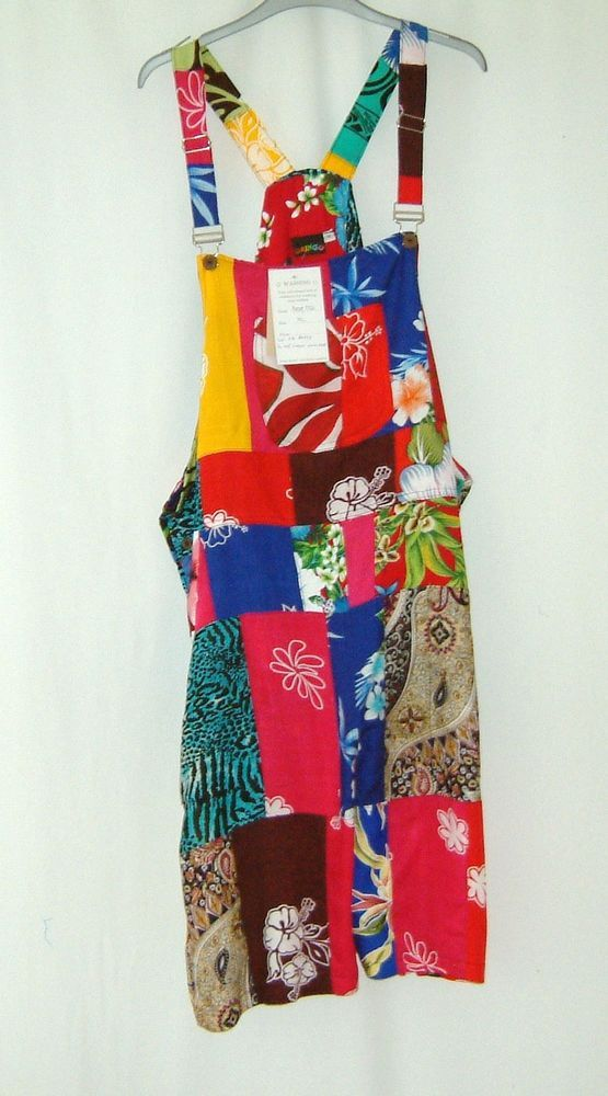 a86b37820ca GRINGO Short Dungarees Trousers recycled patchwork rayon Hippy FairTrade