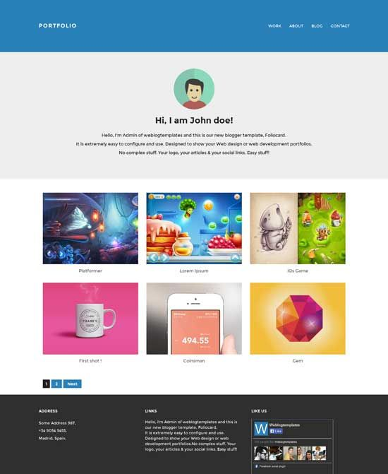 Foliocard-Responsive-Portfolio-Blogger-Template | Web ...
