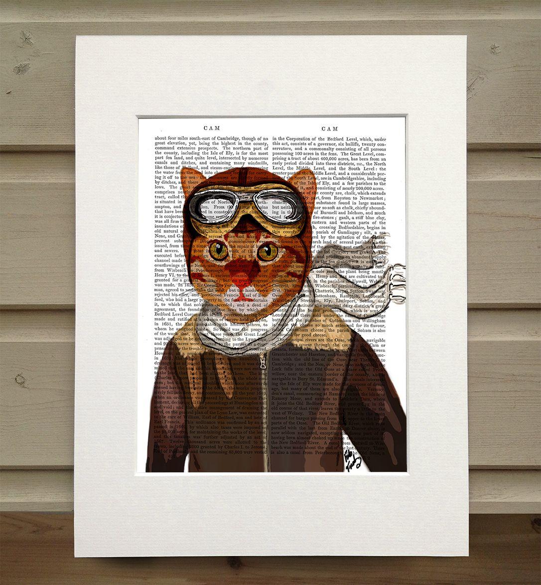 Fab funky cat in flying jacket antiquarian book print u u x u in