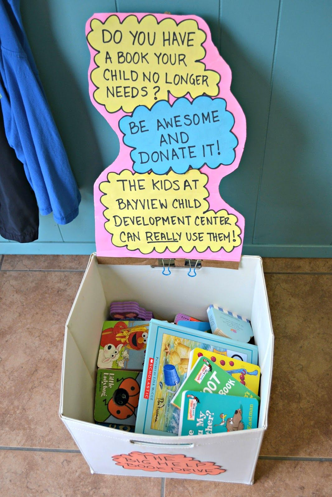 mommy testers sure did fill up her big help book drive donation box