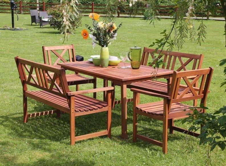 Wooden Dining Set Table Chairs Bench Garden Patio 6 Seater Outdoor Parasol Hole Garden Dining Set Outdoor Furniture Sets Wooden Dining Set
