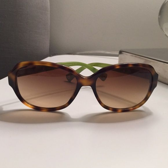 f2bcf8c04b8 Coach Light Brown Tortoise  Annette  Sunglasses Coach Tortoise sunglasses  in light brown frames with fun pop of green on the interior of temples.