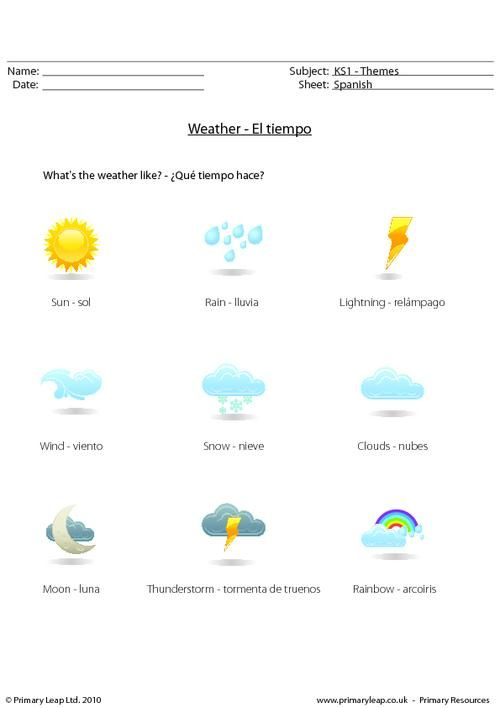 PrimaryLeap.co.uk - Spanish weather Worksheet | Spanish Teaching ...
