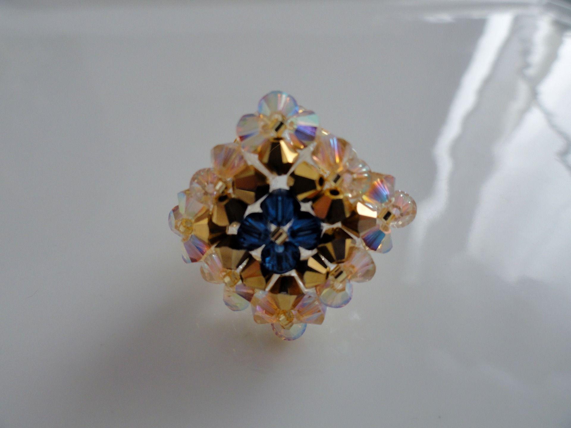 Bague losange Khéops en perles de cristal Swarovski | Etsy ...