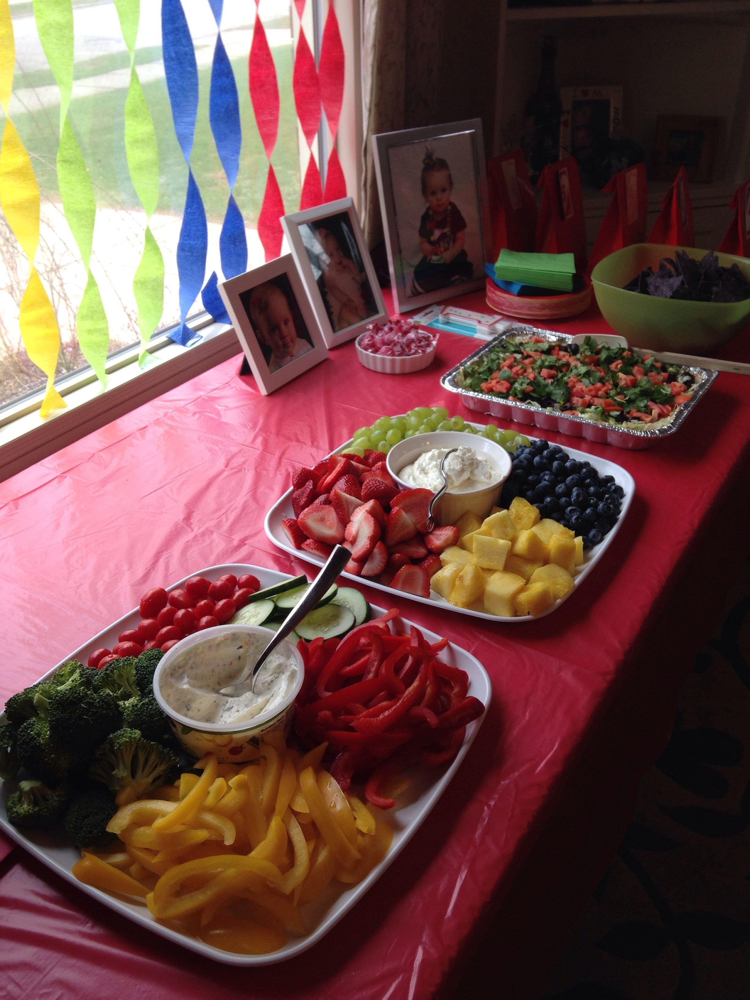 Color Coordinated Food For Uno Party Christmas Tea Party