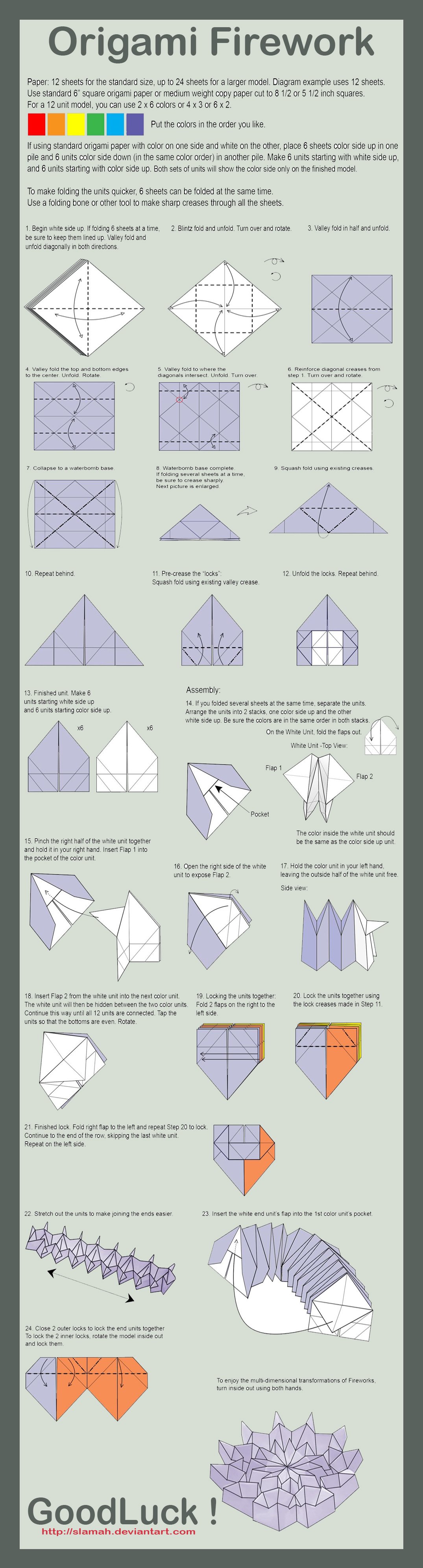 Origami Firework Folding Instructions Instruction Diagram