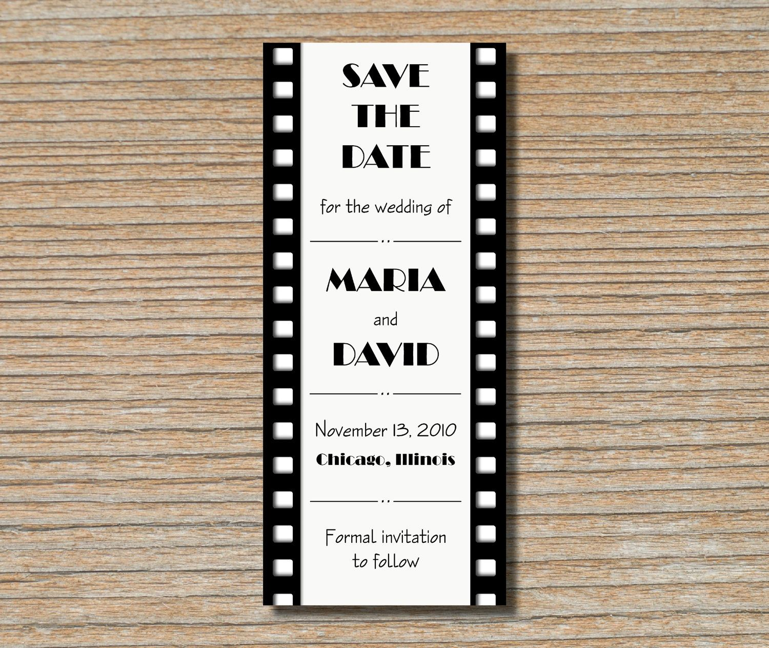 Save the Date Card - Film Strip Movie Reel in Black and White - Old ...