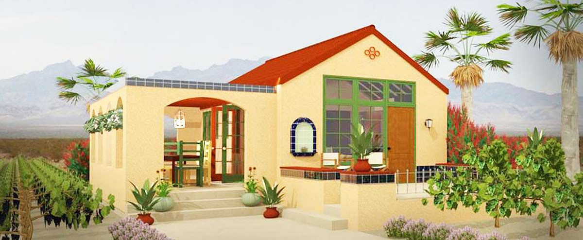 Plan 490002rsk Tiny Spanish Hacienda House Plan With Outdoor Living Spanish Style Homes Cottage Style House Plans Adobe House