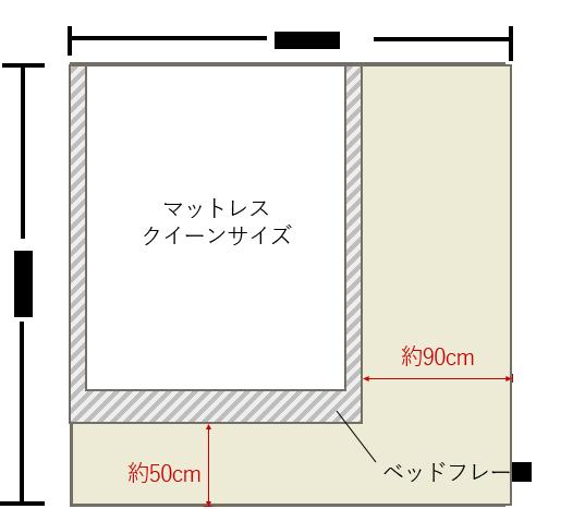 4畳半の寝室にクイーンベッドを壁寄せでレイアウト 4畳 6畳 寝室