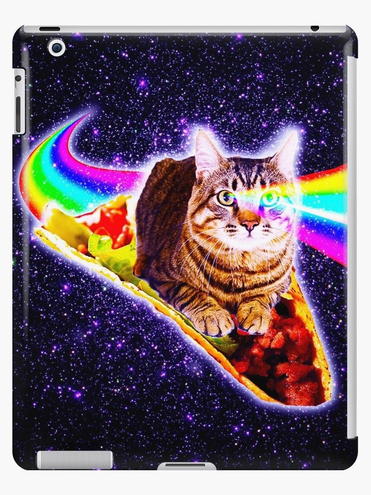 Pick up this funny hipster design with an outer space kitty cat surfing on taco