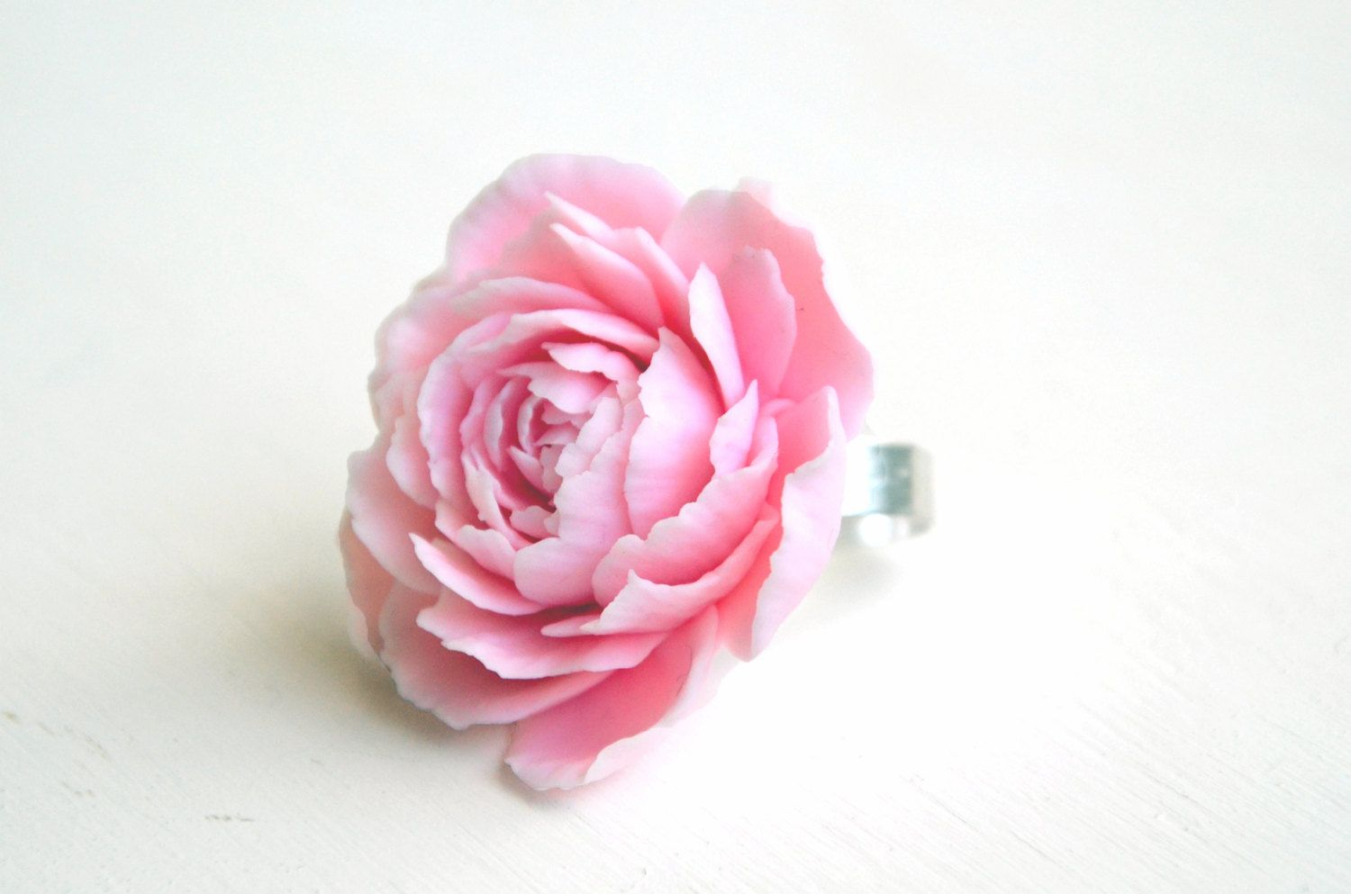Peony rose ring, polymer clay jewelry, polymer clay flower, flower ...